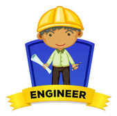 Occupation wordcard with engineer illustration