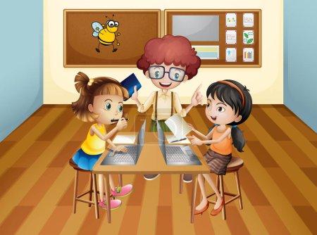 Illustration pour Étudiants apprenant en classe illustration - image libre de droit