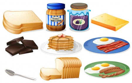 Breakfast set with bread and jam