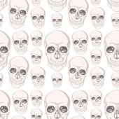 Seamless background design with skull illustration