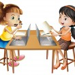 Two girls working on computer illustration...