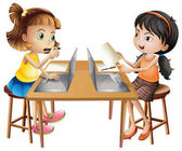 Two girls working on computer illustration