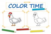 Coloring template with chicken