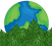 Environmental theme with earth and green leaves