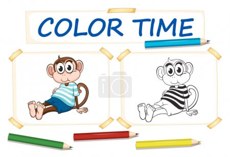 Coloring template with cute monkey