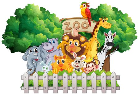Illustration for Scene with zoo animals and sign illustration - Royalty Free Image