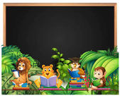 Frame design with wild animals reading book
