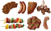 Different kinds of meals with beef