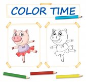 Coloring template with pig in ballet dress