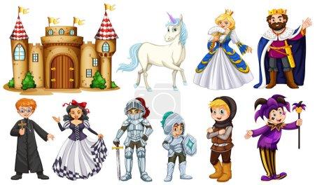 Illustration pour Différents personnages dans l'illustration de contes de fées - image libre de droit