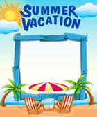 Frame template with summer vacation on the beach