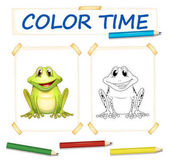 Coloring template with cute frog