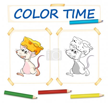 Coloring template with mouse and cheese