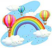 Balloons flying over the rainbow illustration