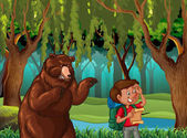 Forest scene with hiker and bear