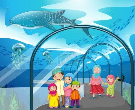 Muslim people visiting aquarium