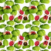 Seamless background with ladybugs and leaves