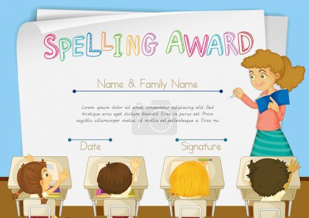 Certificate template for spelling award
