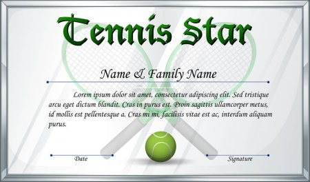 Certificate template for tennis star
