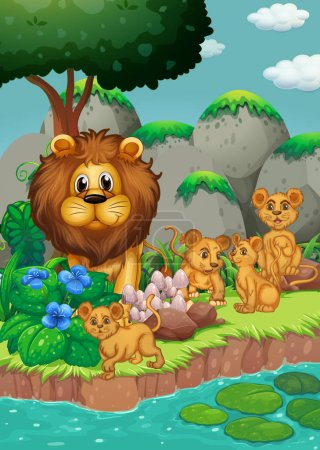 Illustration pour Famille Lion vivant dans la forêt illustration - image libre de droit