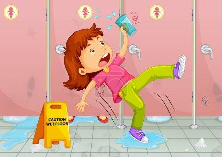 Girl slipping on toilet floor