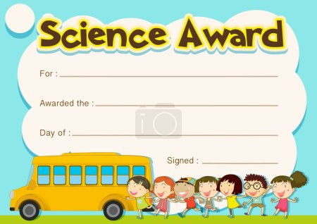 Certificate award with children and school bus background