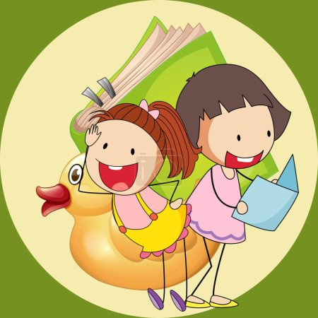 Two cute girls reading book