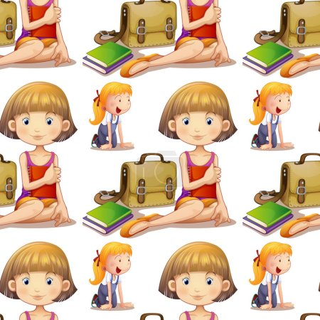 Seamless background design with cute girls