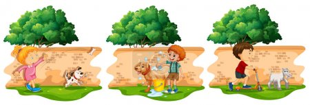 Scenes with children and pet dog