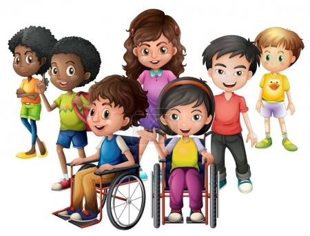 Happy children standing and on wheelchairs