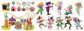 Circus clowns and many rides illustration