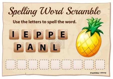 Spelling word scrable game with word pineapple