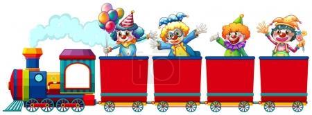 Clowns riding on train