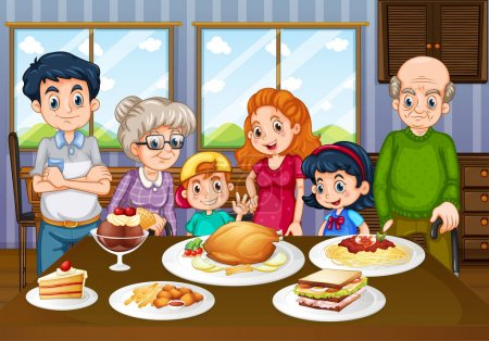 Family having meal together in dining room