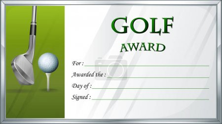 Golf award template with golf ball in background