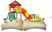 Children playing at playground on book