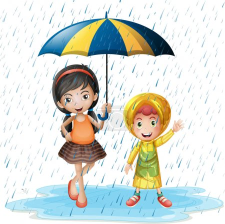 Two kids in the rain