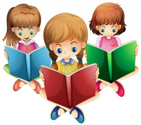 Three girls reading books