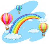 Three balloons flying over the rainbow illustration