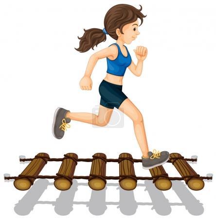 Woman running across the bridge
