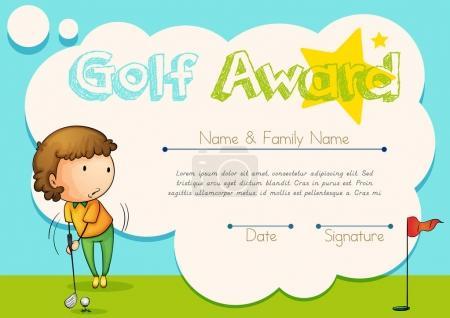 Certificate template for golf award