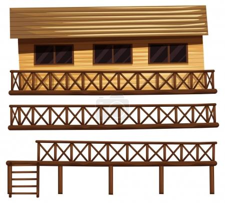 Wooden house and fences