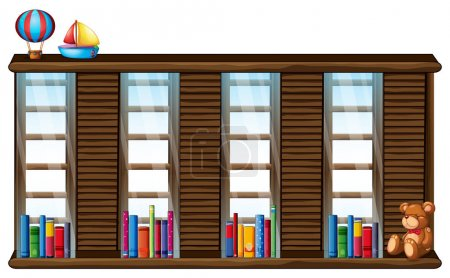 Wooden shelf with books and toys