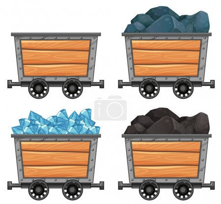 Mining carts loaded with stones and diamond