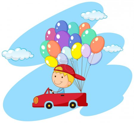 Boy driving red car with balloons