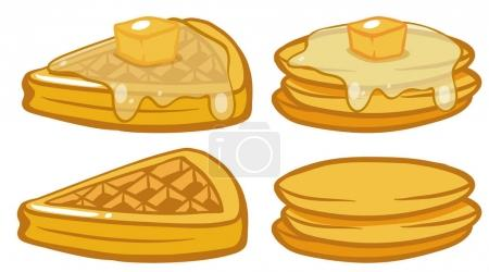 Breakfast set with pancakes and waffles