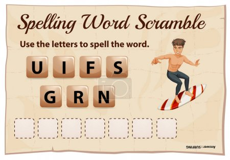 Spelling word scramble for word surfing