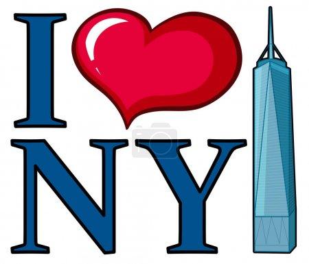 I love New York sign with skyscraper