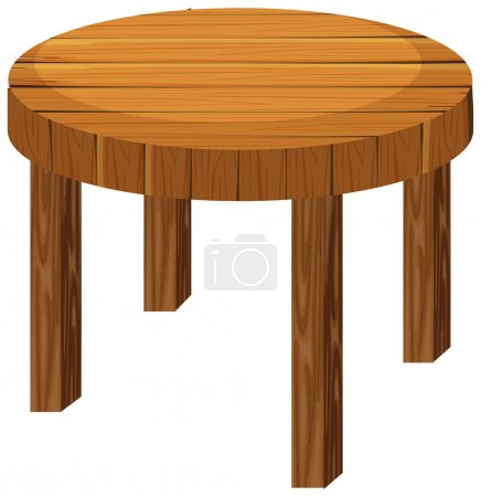 Round wooden table on white background