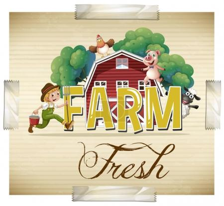 Farm animals and farmer on the poster